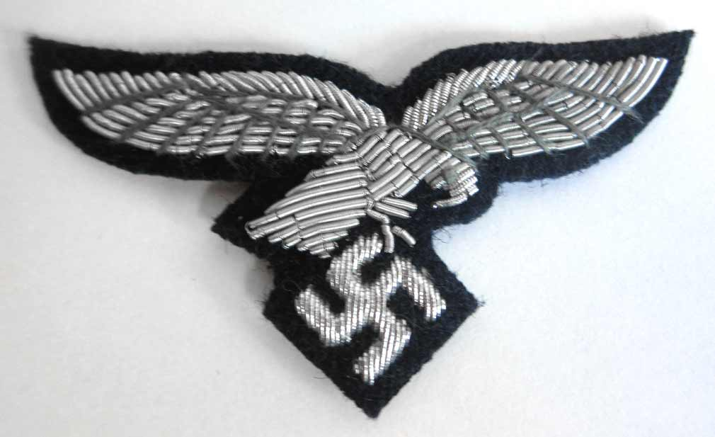 Luftwaffe Officers Cap Eagle in Silver Bullion Luftwaffe Blue Background