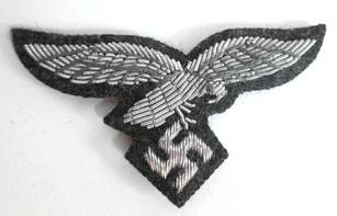 Luftwaffe Officers Cap Eagle in Silver Bullion Luftwaffe Grey Background