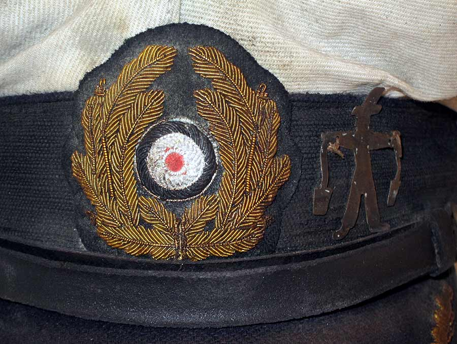 U-Boat Hat U-96 close up of Kreigsmarine Eagle, wreath and Water Carrier