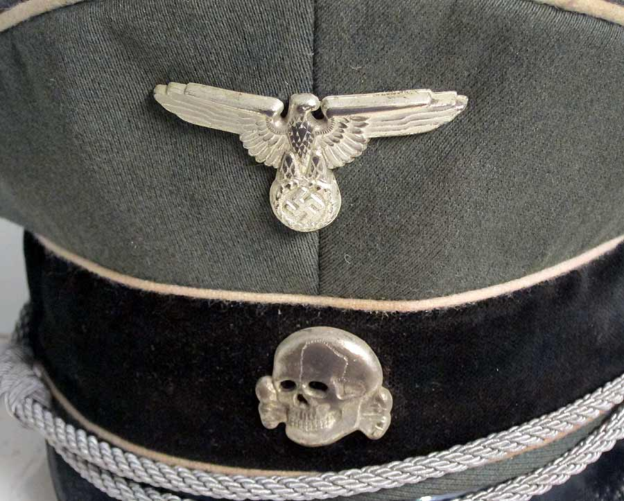 Waffen SS EREL Hat close up of Eagle & Skull