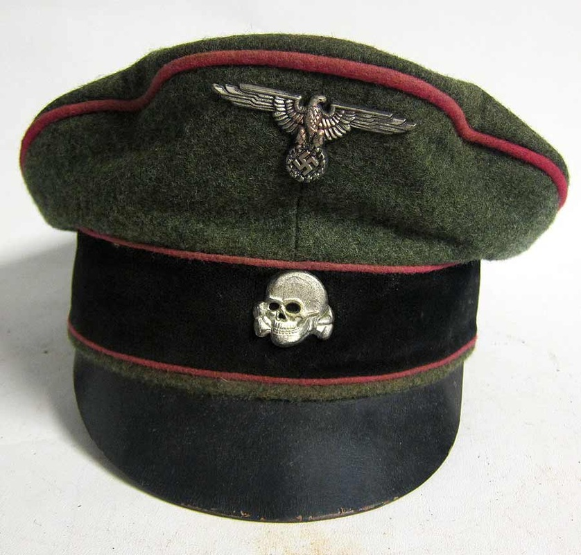 Waffen Ss Panzer Crusher Cap With Leather Peak