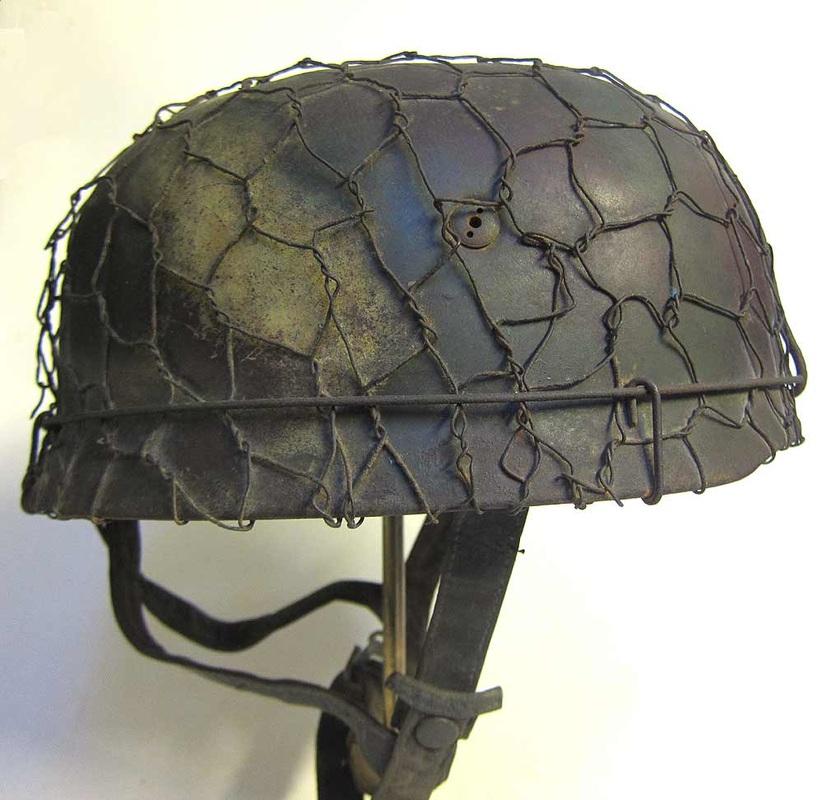 WW2 German M38 Paratrooper Helmet Refurbishment Three tone