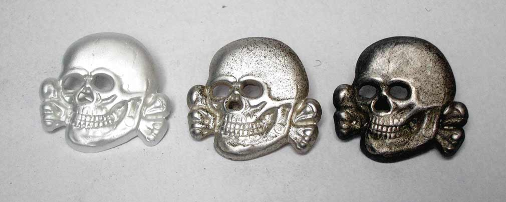 Waffen SS Officers Cap Badge Skull - Early Deschler Ges. Gesch. RZM.