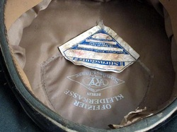 Waffen SS EREL Hat Close up of makers mark