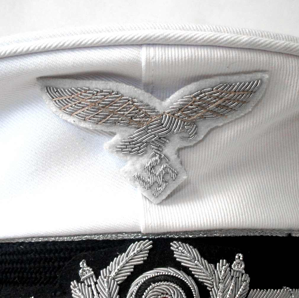 Luftwaffe White Summer Top Cap Eagle in Silver Bullion