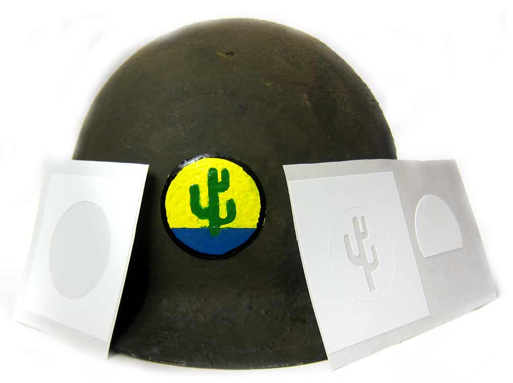 WW2 103rd Infantry Division (Cactus Division) Helmet Stencil