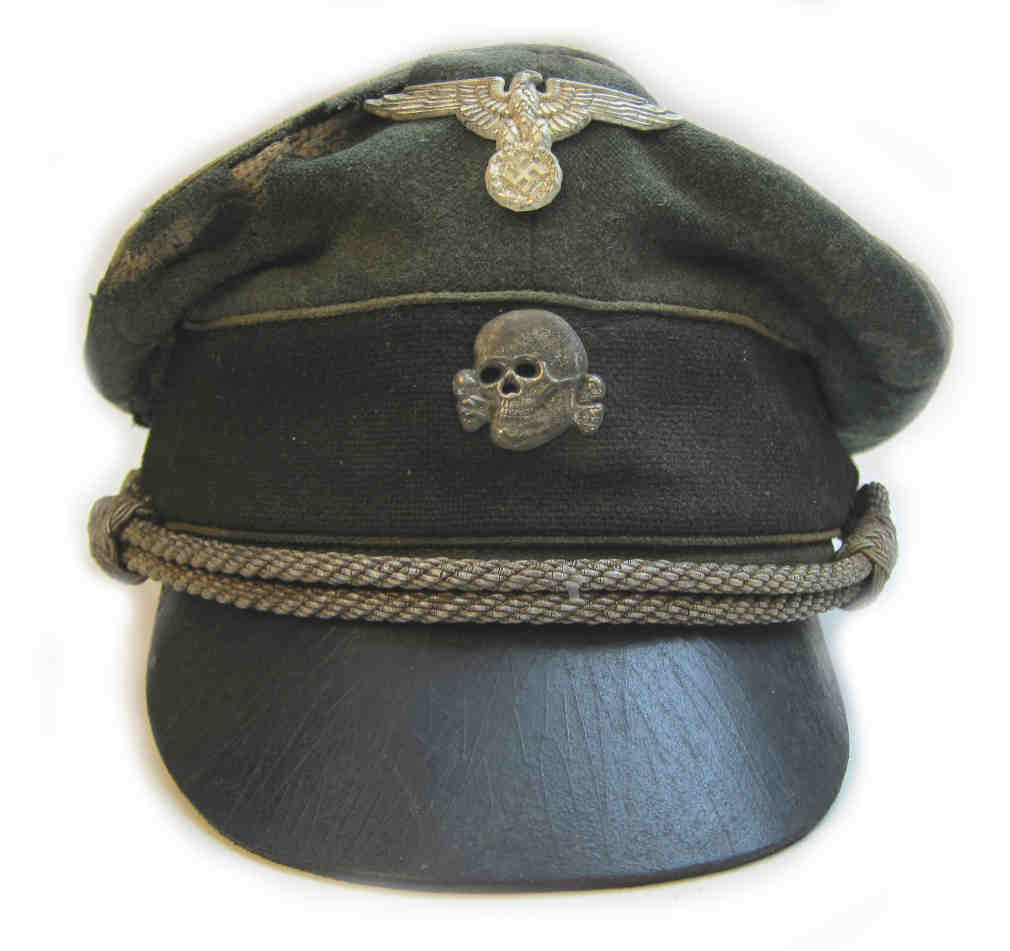 Waffen SS Officer Crusher Cap & Chinstrap - Aged