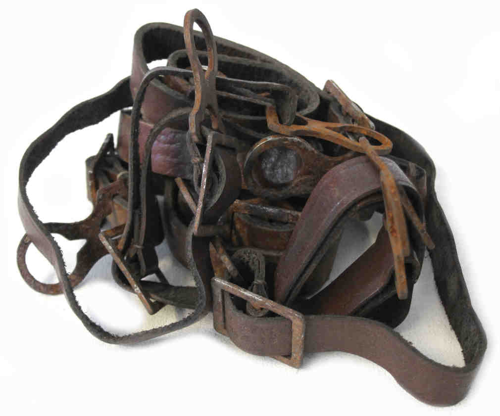 WW1 German Helmet Chinstrap - Brown Leather & Steel Fittings - Aged Condition - Improved Version