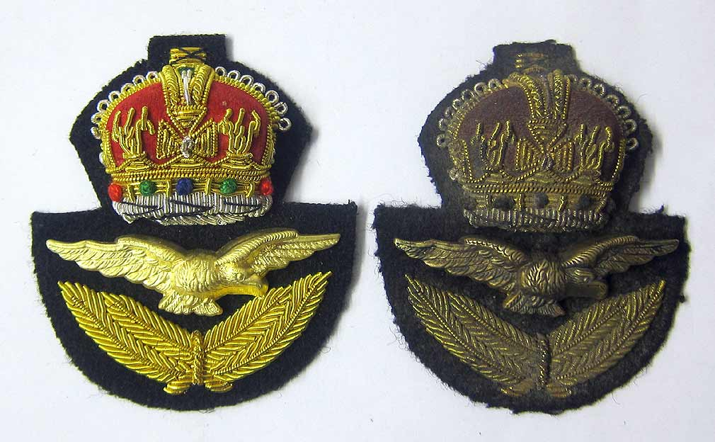 WW2 British RAF Officers Cap Badge & Eagle - early war private purchase - Aged & New Condition