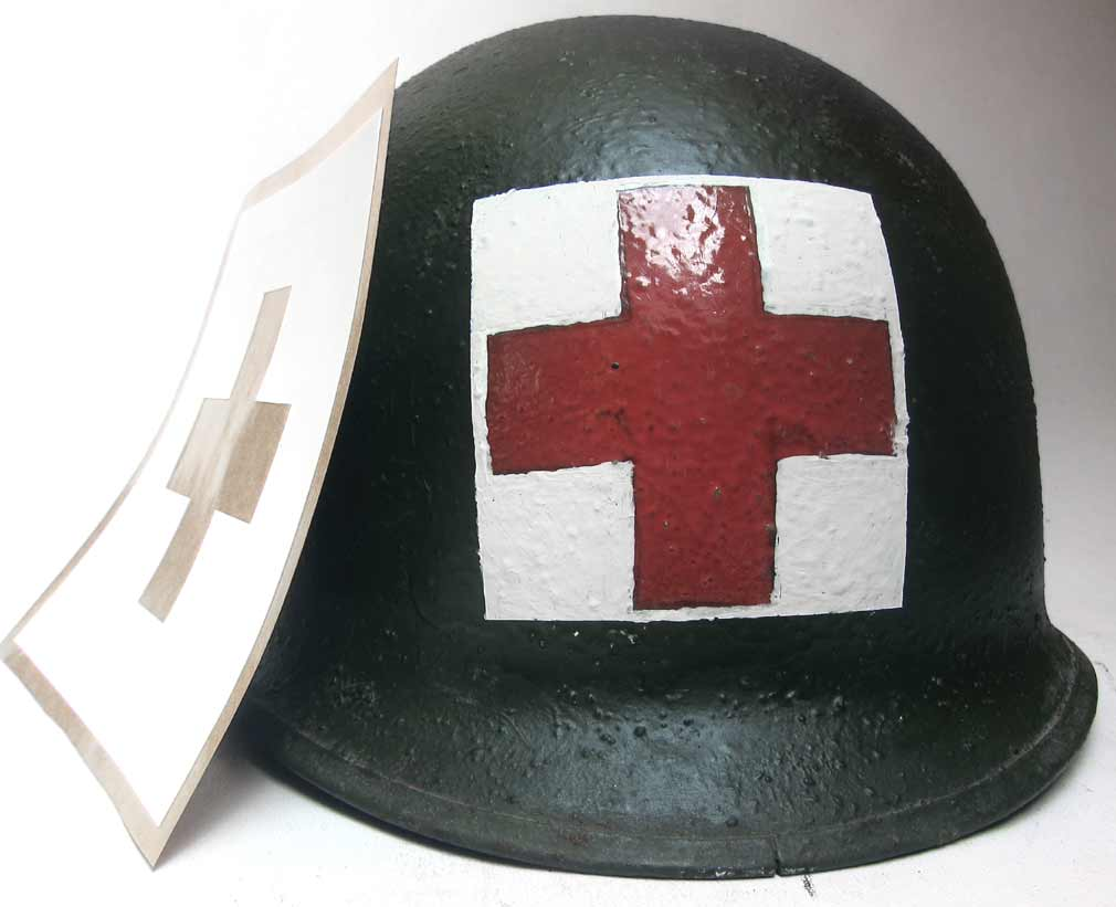 US Helmet Stencil USA Medical Red Cross version #3