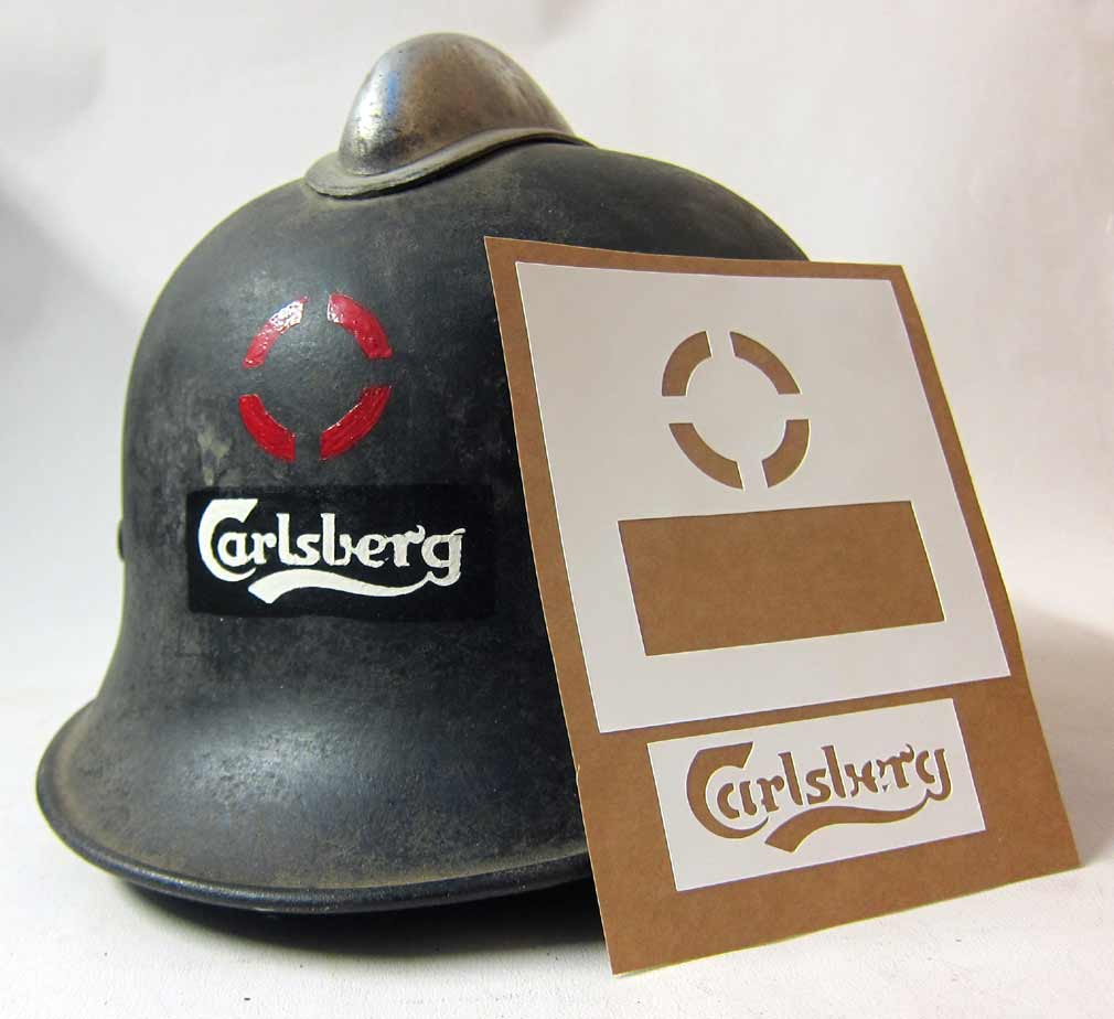 WW2 German Carlsberg Beer Helmet Factory stencil Stahlhelm