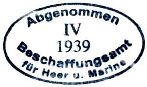 German shell Acceptane Stamp